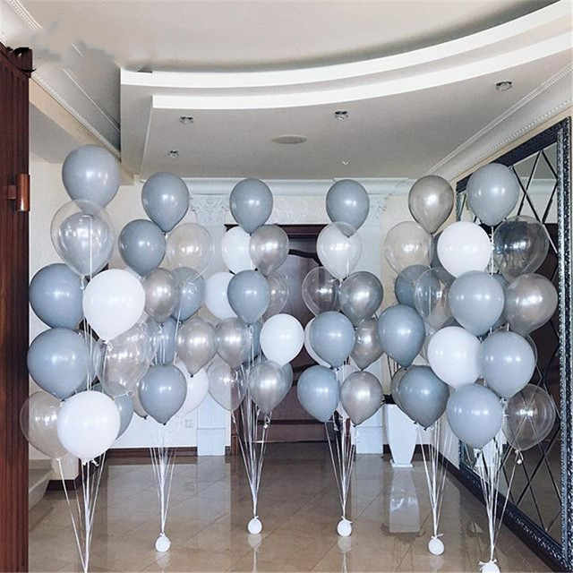 20pcs Grey White Latex Balloons 2.8g Clear Transparent Ballon Romantic Inflatable Wedding Decoration Birthday Partrty Decaration