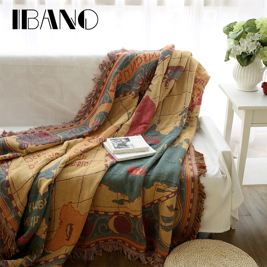 Ibano Cotton Vintage Throw Blanket Plaid Sofa Cover Home