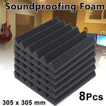 8pcs 30.5x30.5 x4.5cm Black Acoustic Foam Soundproofing Foam Acoustic Sound Treatment Sound-absorbing Sponge For Control Noise