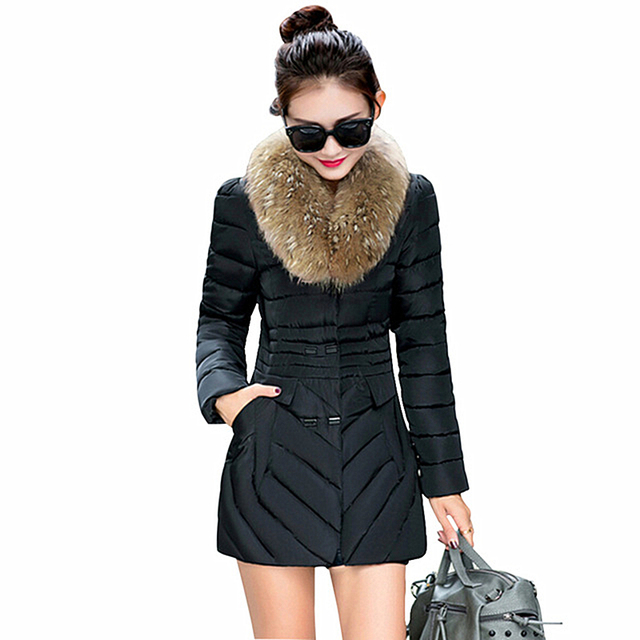 Fashion New Womens Down Coat Fur Collar Female Winter Jacket Double Breasted Medium Long Slim Parkas Jackets