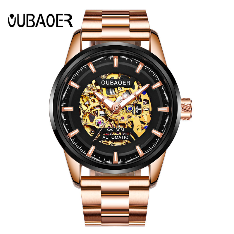 Luxury Brand OUBAOER Men Watch Rose Guld Stål Automatisk Skelett - Herrklockor