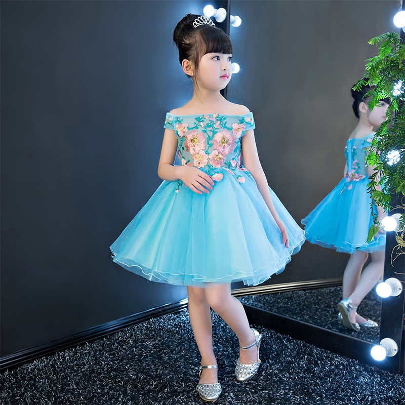 Blue Embroidery Flower Girl Dress Shoulderless Ball Gown Princess Dress Knee Length Kids Pageant Dress Birthday