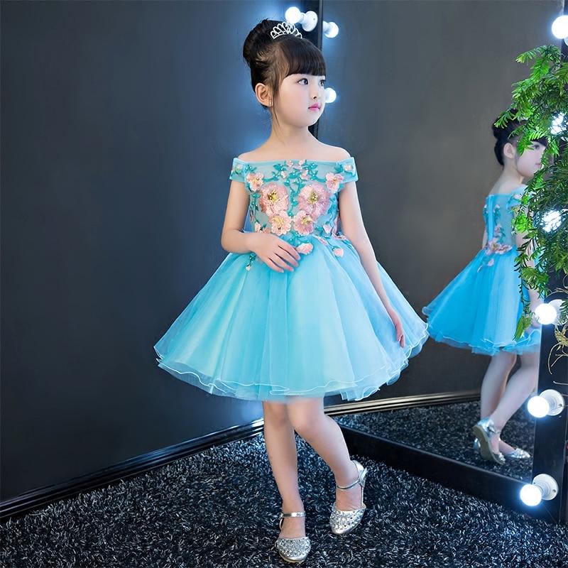 Blue Embroidery Flower Girl Dress Shoulderless Ball Gown Princess Dress Knee Length Kids Pageant Dress Birthday Communion B31 ruched knee length smock dress