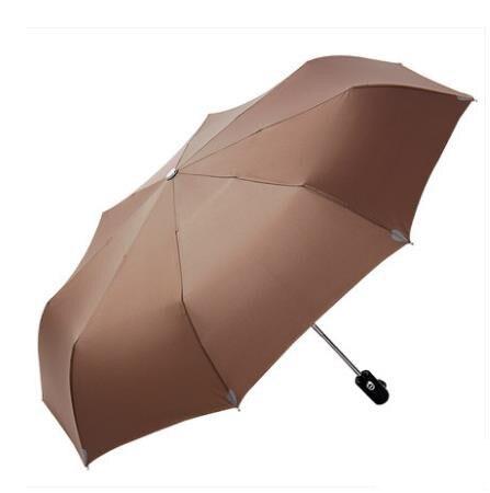 Большой зонт полуавтоматический водонепроницаемый Зонт raingear высокого качества - Цвет: Camel color