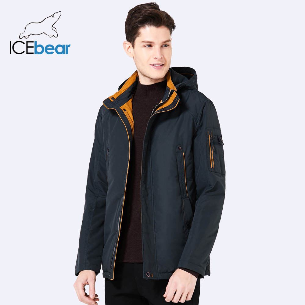 ICEbear 2018 Three Colors Large Size Polyester Thin winter jacket Men parka Spring Casual Warm Coat 17MC853D
