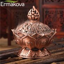 ERMAKOVA Цветок Лотоса Китайский Будда сплав металлическая горелка для благовоний держатель благовоний ручной работы чаша-курильница буддистское украшение дома