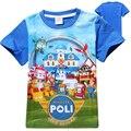 2017 de Moda de Verano de Manga Corta Camiseta de Los Muchachos de Algodón Poli Robocar Cabritos Del Bebé T Shirt de Dibujos Animados Niños Tapas de la Ropa Tees Ropa