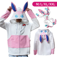 Pokemon Go Sylveon Winter Warm Coat Sweater Hoodie Thermal Cosplay Cute With Ears For Lovers Couple