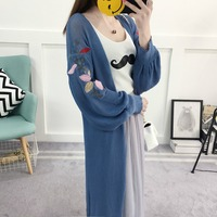 2017 New Fashion Spring/fall Women Sweaters Long Sleeve Cardigans Embroidery Knitted Long Sweater Coat Lantern Sleeve