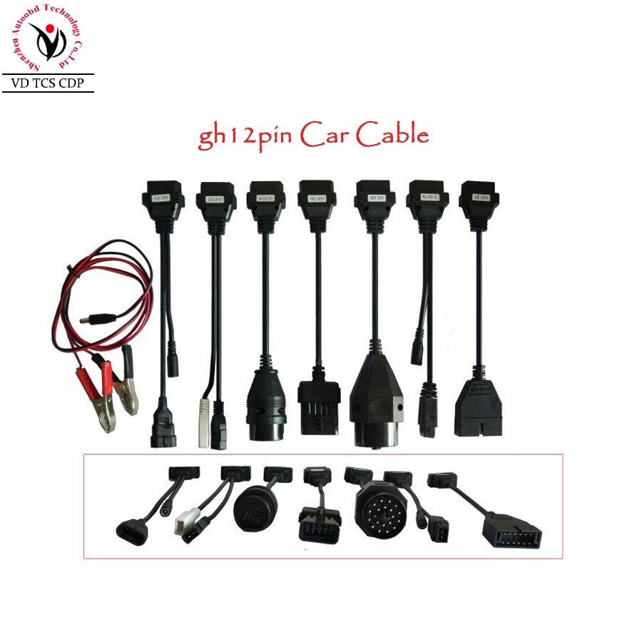 2017 Auto OBD2 Diagnotic Cables CDP Car Cables With Full Set 8 Car Cables TCS CDP PRO OBD2 OBDII Cables For MVD/Multidiag Pro+