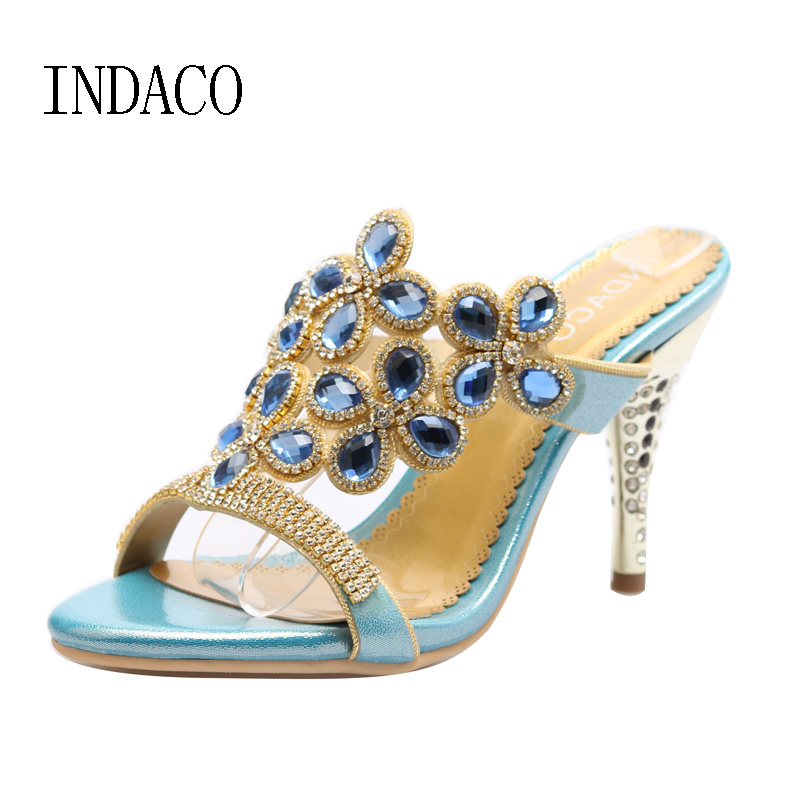 Rhinestone High-heeled Sandals Women Summer Gold High Heel Shoes Open Toe High Heels Slippers Crystal Leather Pumps Shoes summer women leather high heeled shoes sandals rhinestone pump sandals ladies open toe slippers plus size 33 41