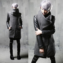 Winter men inclined zipper leather patchwork woolen trench coat long j