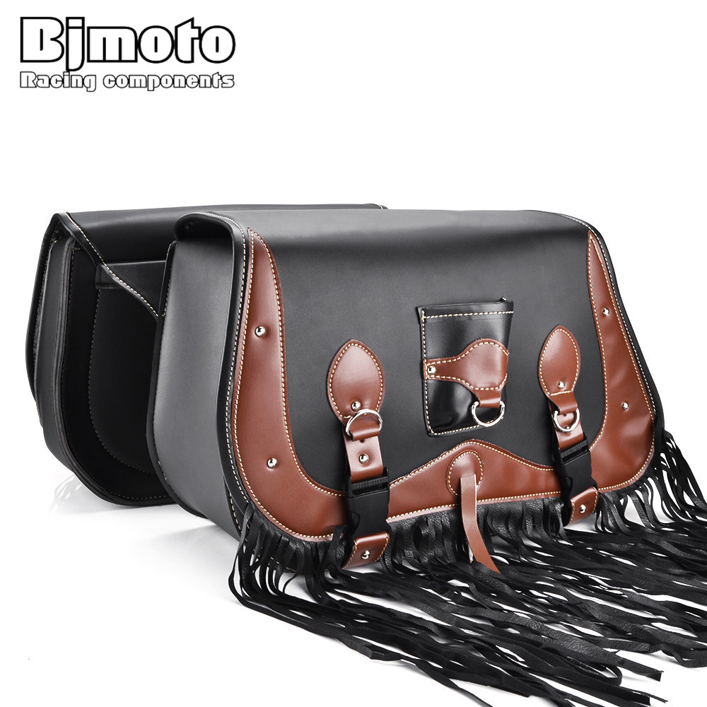 BJMOTO Motorcycle Saddle Bags PU Leather SaddleBag Cruise Vehicle Side Panniers Tool Bag for Harley Cruiser Sportster duhan motorcycle waterproof saddle bags riding travel luggage moto racing tool tail bags black multifunction side bag 1 pair