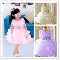 Лето 2017 рукавов талия шифон цветок детское платье девушки 3D flower tutu слоистые принцесса свадьба baddlell дети платье