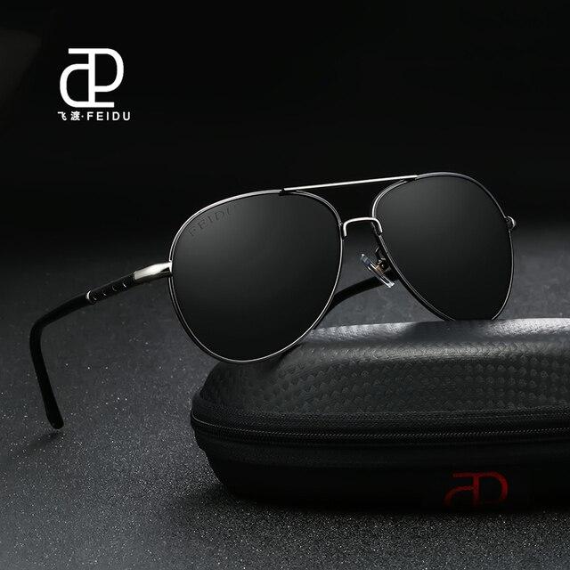 f62169de7d64 FEIDU 2017 Classic Pilot Polarized Men Sunglasses Retro Brand Designer  Metal Frame Sun Glasses Coating Eyewear