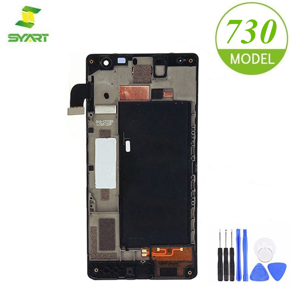 For <font><b>Nokia</b></font> Lumia 730 735 LCD Display Touch Screen Digitizer Assembly With Frame For RM-1038 RM-1039 RM-<font><b>1040</b></font> 4.7