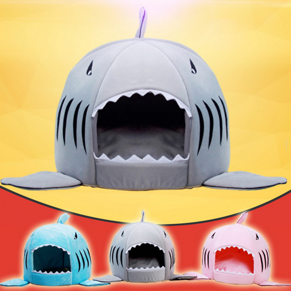 Dozzlor Shark Cat House Bedding Basket Cute Pet Products Sleeping Small Medium Puppy Litter Dog Bed Lounger For Animal 3 Colors #1