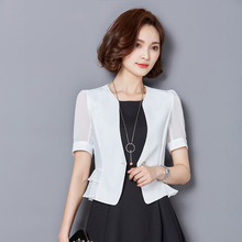 Summer Fashion Women Slim Temperament Short Sleeve Thin Type Solid Coats Jackets