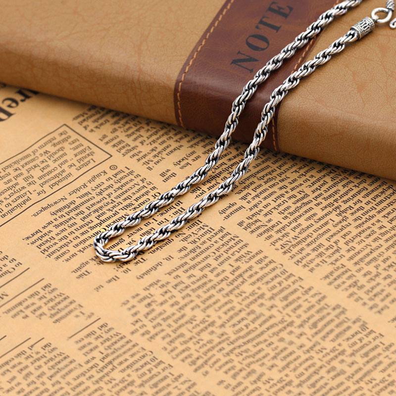 FNJ 4mm Rope Chain Necklaces 925 Silver 45cm to 60cm Fashion Original S925 Thai Silver Men Necklace JewelryFNJ 4mm Rope Chain Necklaces 925 Silver 45cm to 60cm Fashion Original S925 Thai Silver Men Necklace Jewelry