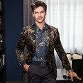 2016 Plus Size Moda Estilo Britânico Masculino Digital Flor impressão terno Outerwear Jaqueta dos homens business Casual Magro tops