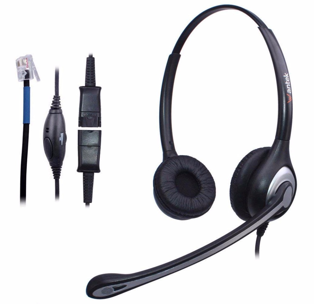 WantekCorded Telephone Noise Canceling Mic + Quick Disconnect for Call Center Telephone Systems with Cisco 7942 Office IP Phones new rj11 headset with microphone adjustable metal headband telephone noise reduction headphone for office call center