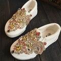 2017 новая мода кристалл холст девушки shoes плоские и восстановление древних путей детей кроссовки shoes принцесса цветок shoes kids