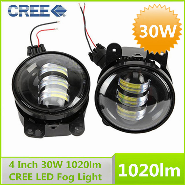 Pair 4 Inch Round Cree 30w White Led Fog Light Kit For Jeep Wrangler Jk Front