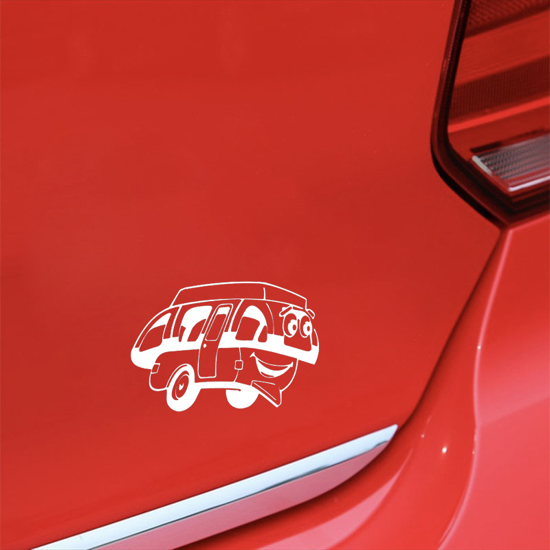 17 2CM 12CM 3D Cartoon Fun Happy Camper Vinyl Car Window Sticker Decal Black White Graphical Stickers in Car Stickers from Automobiles Motorcycles