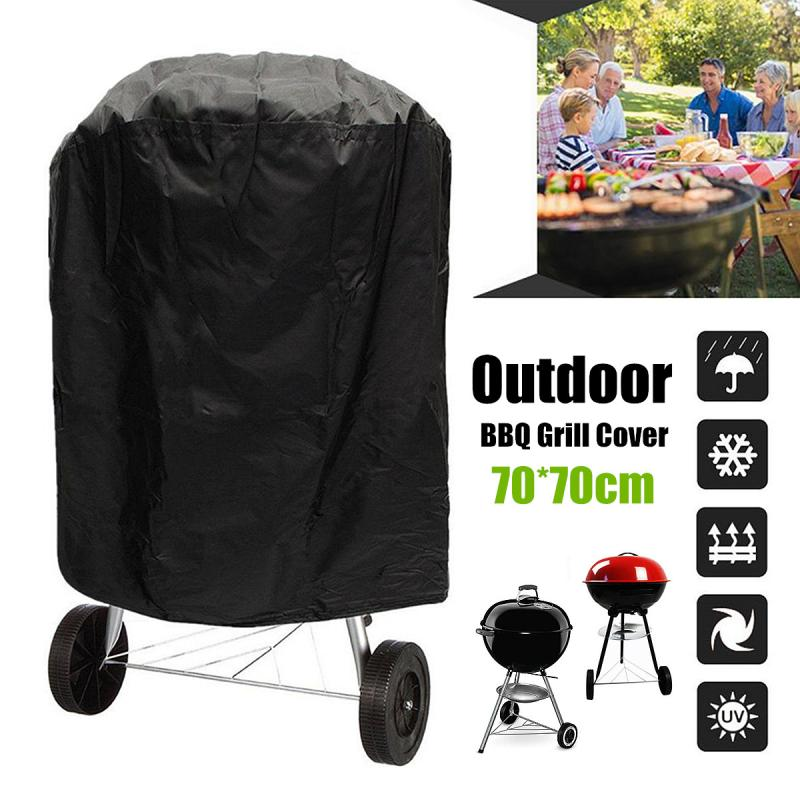 Outdoor Waterproof Round Kettle BBQ Grill Barbecue Cover 70x70cm Black Polyester Protector UV Resistant Easy Cleaning Durable