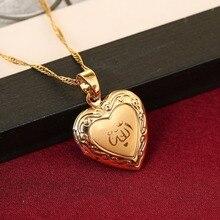 Coração allah pingente de jóias para as mulheres 24 k cor de ouro muçulmano coração allah aberto coração pingente colar com corrente