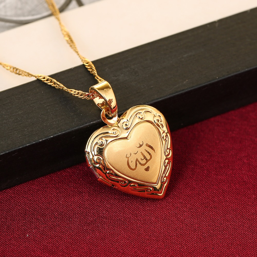 Image 1 - Heart allah pendant Jewelry For Women 24K Gold Color Muslim Heart