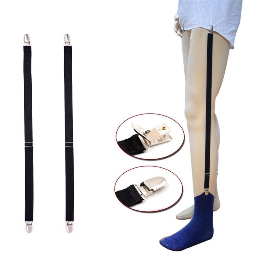 2 Pcs Men's Shirt Suspenders Elastic Polyester Adjustable Shirt Holder Crease-Resistance Belt Stirrup Style Unifor Stays Garters