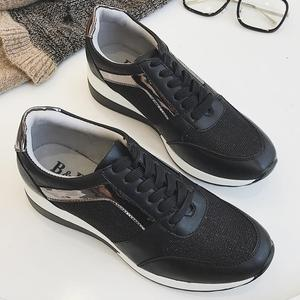 Image 5 - Spring New Sneakers Women Platform Casual Sports Shoes Ladies Thick Soled Fashion Shoes Lace Bling Factory Direct Sale