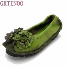 Spring and Autumn Handmade flower women's shoes genuine leather female moccasins loafers soft outsole casual shoes flats