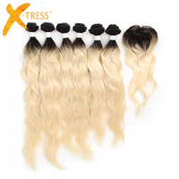 X TRESS Peruvian Natural Wave Human Hair Weave 6 Bundles With Closure Ombre Black Blonde Color 613 Non Remy Hair Weft Extensions