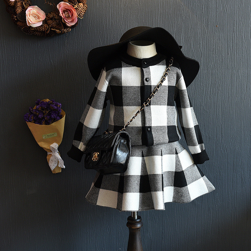 DreamShining 2Pcs Baby Girls Dress Plaid Children Clothing Sets Toddler Girl Clothes Jacket Spring Costume Kids Coats & Skirts fashion kids baby girl dress clothes grey sweater top with dresses costume cotton children clothing girls set 2 pcs 2 7 years