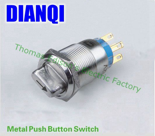 19mm Push Button Waterproof stainless steel Switch 3 position switch with indicator 2NO 2NC press button 19XN/B,3D.2K2B