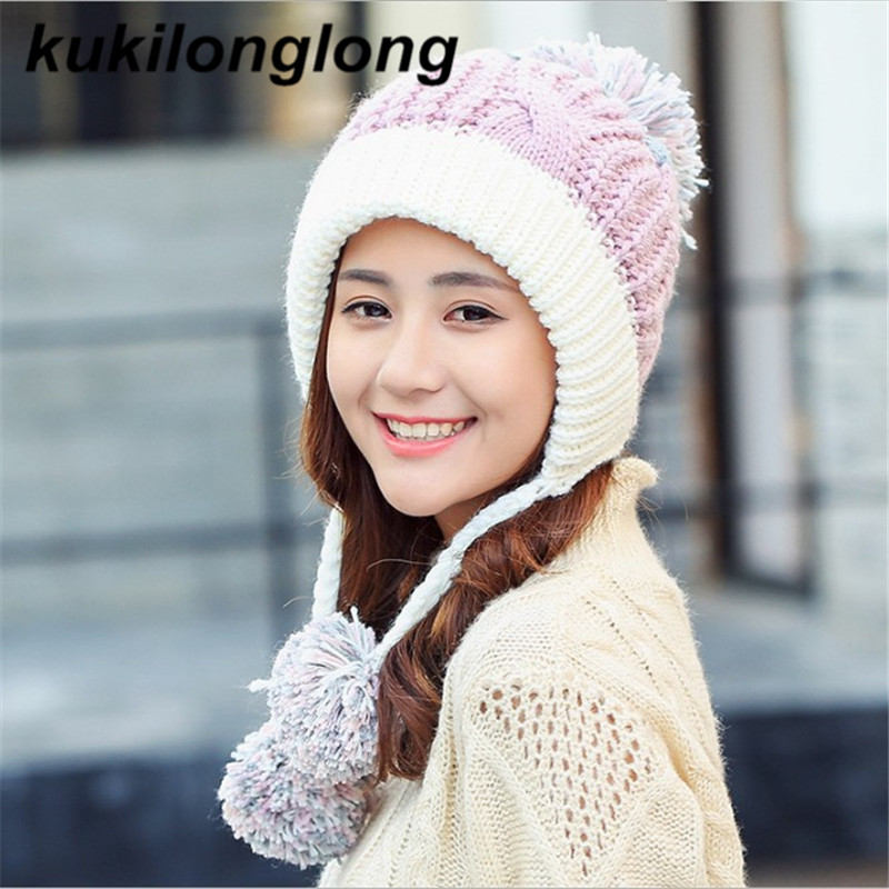 kukilonglong winter hat skullies beanies women's winter cap thick knitted for girls cute warm pompoms 2 bone fashion cotton 2017 skullies