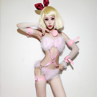 Ds Costumes New Nightclub Bar Dj Female Singer Stage Outfit Show Suit Feather Pink Fur Party Bikini Stage Outfits