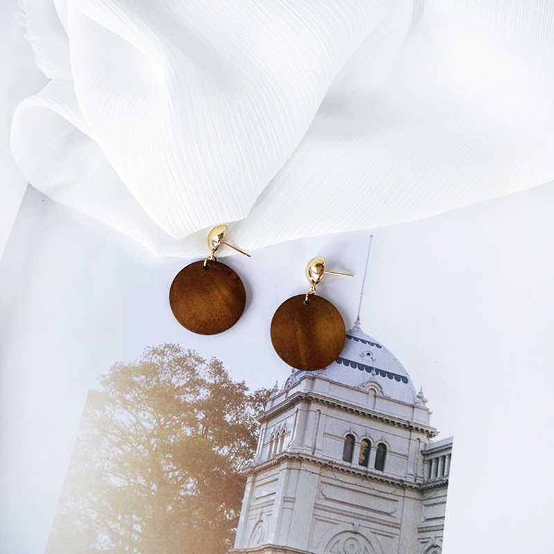 Female brown round wood earrings simple pendant earrings jewelry new style women present