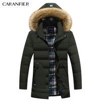 CARANFIER Warm Male Parkas Coat Fashion Winter Brand Jacket Men Fur Hooded Dark Warm Men Parkas