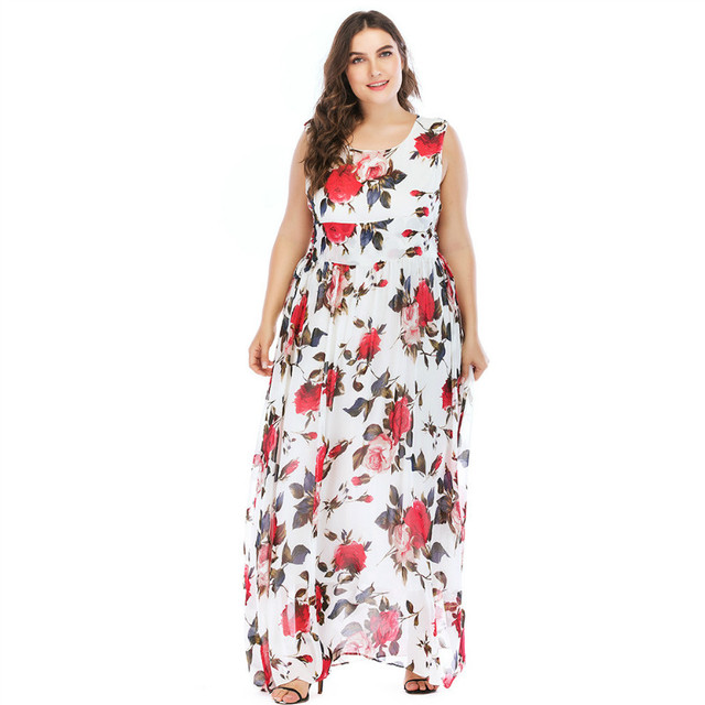 86749588bdef8 TUHAO Plus Size 5XL 4XL Boho Wrap Dress Summer Women Sexy Long Maxi Beach Dress  Floral