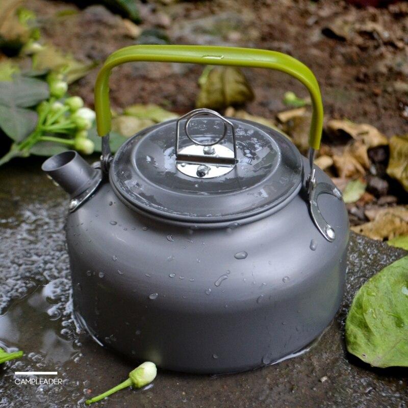 Camping bouilloire Camp thé bouilloire cafetière aluminium extérieur randonnée bouilloire Portable théière Compact léger avec poignée en silicone
