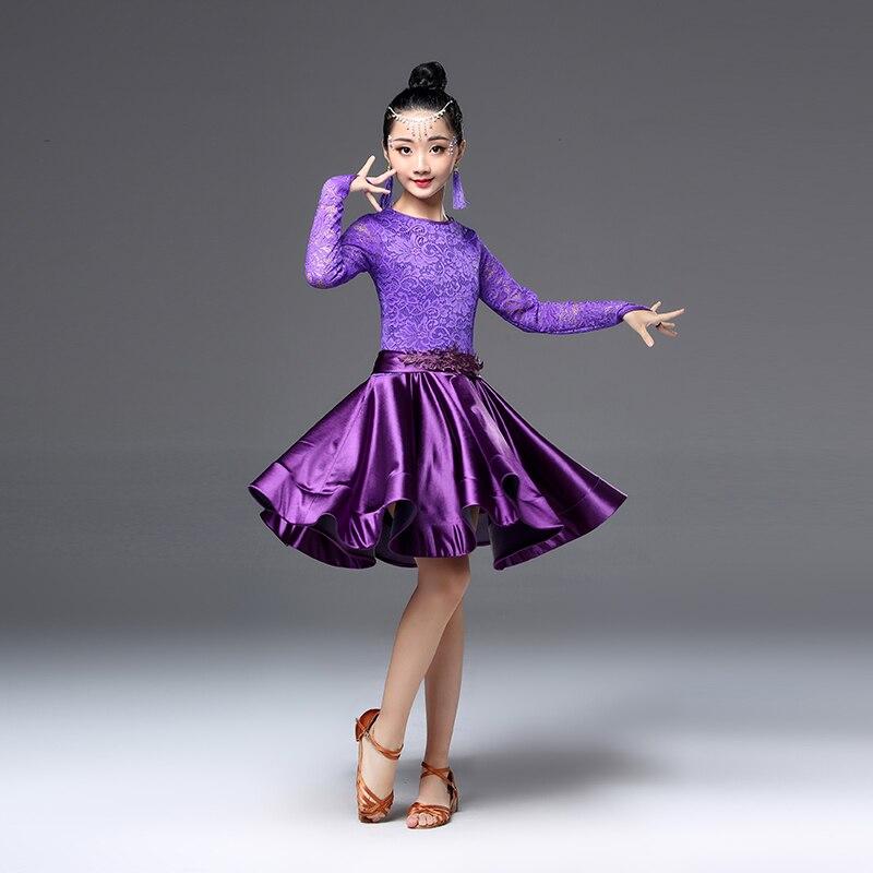 Image 3 - Платье для латинских танцев для девочек, с длинными рукавами, с кружевом, стандартные Бальные платья для детей, одежда для выступлений, одежда для сальсыЛатинский    АлиЭкспресс