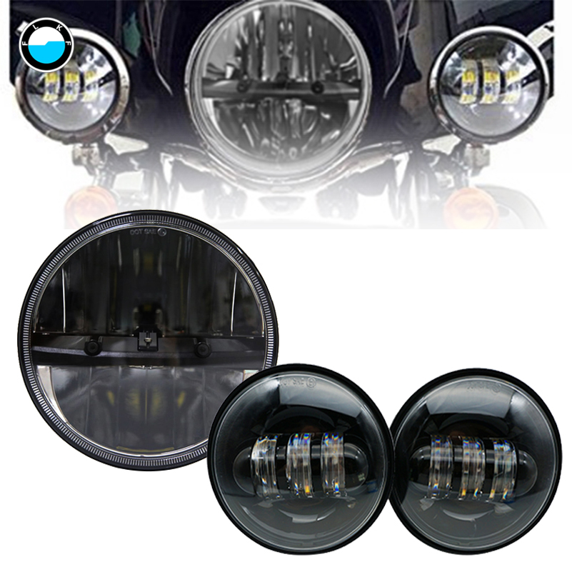 For Harley Motorcycle headlight set Black 7inch LED daymaker Headlight + 4.5 Aux Passing Light For Harley Motorcycle. 7 motorcycle daymaker rgb led headlight