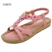 Sandalias Mujer Ladies Shoes New Flip Flops Hot Womens Summer Sexy Bohemia Sandals Beaded Flower Pink