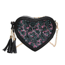 Cute Shoulder Bag Sequins And Tassel Messenger Fashion Fresh Love Crossbody for Women Lady Vintage Sweet Package