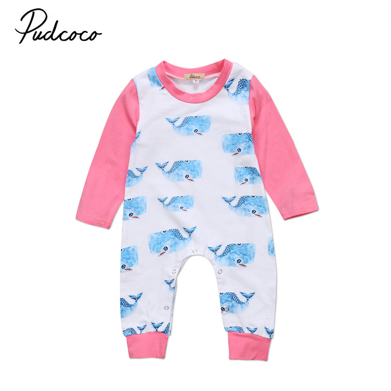 Newborn Baby Girls Boy Long Sleeve Whale   Romper   Jumpsuit Cotton Autumn Winter Clothes Outfit For Baby