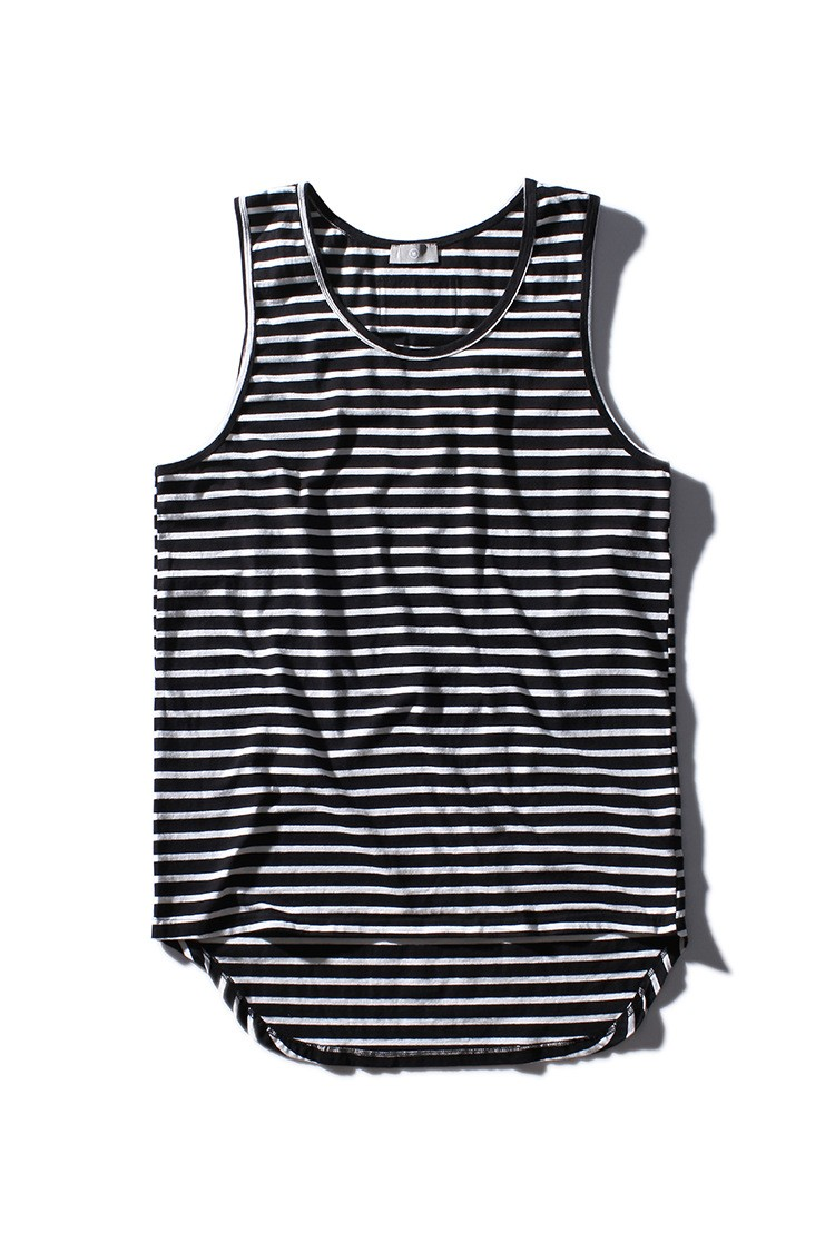Aolamegs Tank Tops Men Extended Black White Striped Tee Sleeveless T Shirts Homme 2017 Spring Summer Hip Hop Fashion Streetwear (6)
