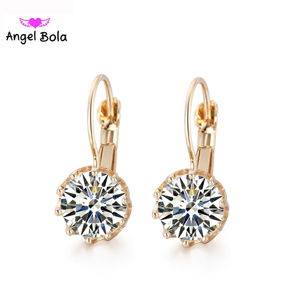 Pryme New Plating Gold Round Dangle Earrings Jewelry Crystal B.you-tiful Errings Women Jewelry 10Pairs Wholesales E-011